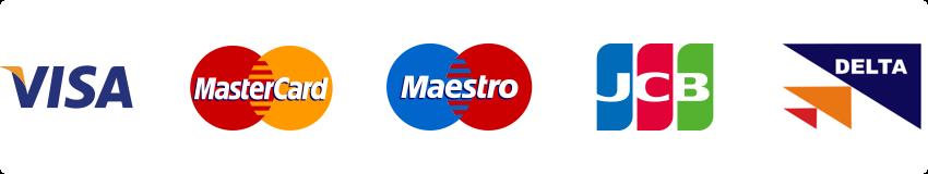 Visa, Mastercard, Maestro, JCB, Delta